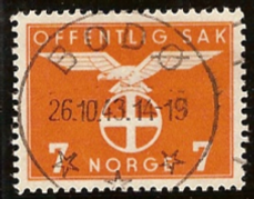 This stamp in Norway use the Nazi version of the sun cross.