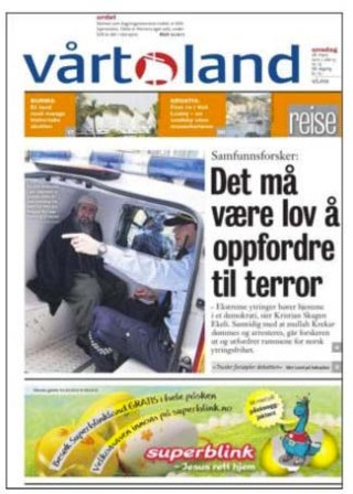 This front pages cover explains that appeal to terrorism must be permitted by Law in Norway